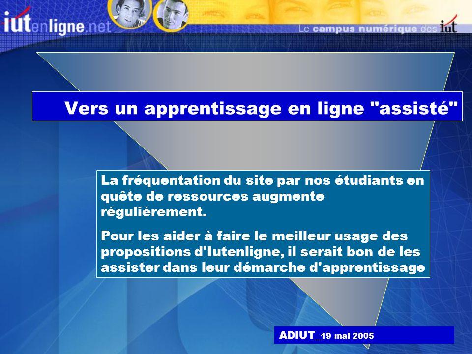 Vers un apprentissage en ligne assisté ADIUT_ 19 mai 2005 La fréquentation du site par nos étudiants en quête de ressources augmente régulièrement.