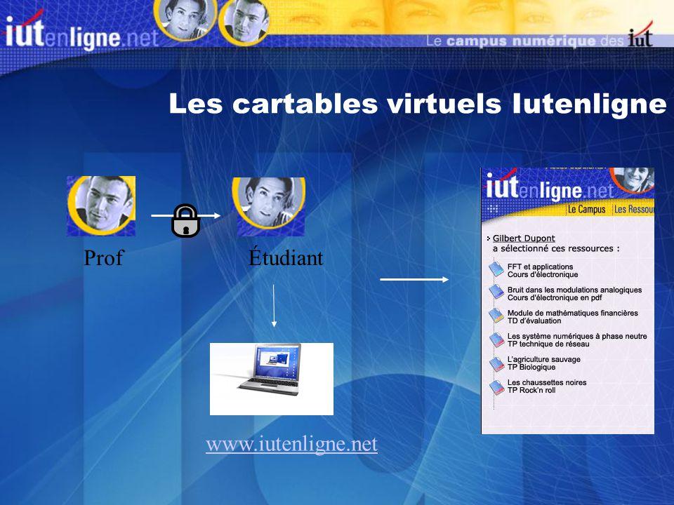 Les cartables virtuels Iutenligne ProfÉtudiant www.iutenligne.net