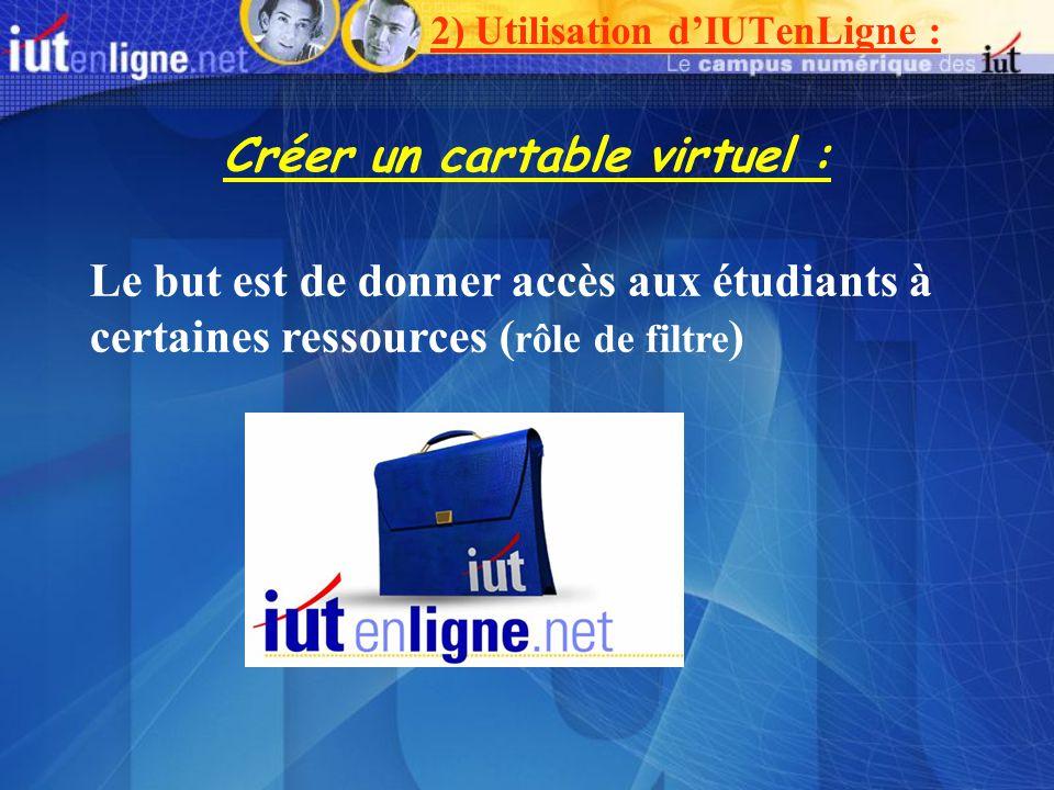 Créer un cartable virtuel : Le but est de donner accès aux étudiants à certaines ressources ( rôle de filtre ) 2) Utilisation dIUTenLigne :