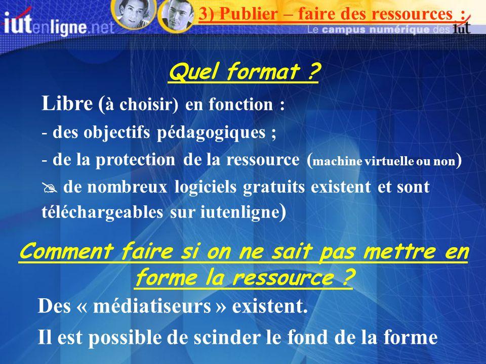 3) Publier – faire des ressources : Quel format ? Libre ( à choisir) en fonction : - des objectifs pédagogiques ; - de la protection de la ressource (