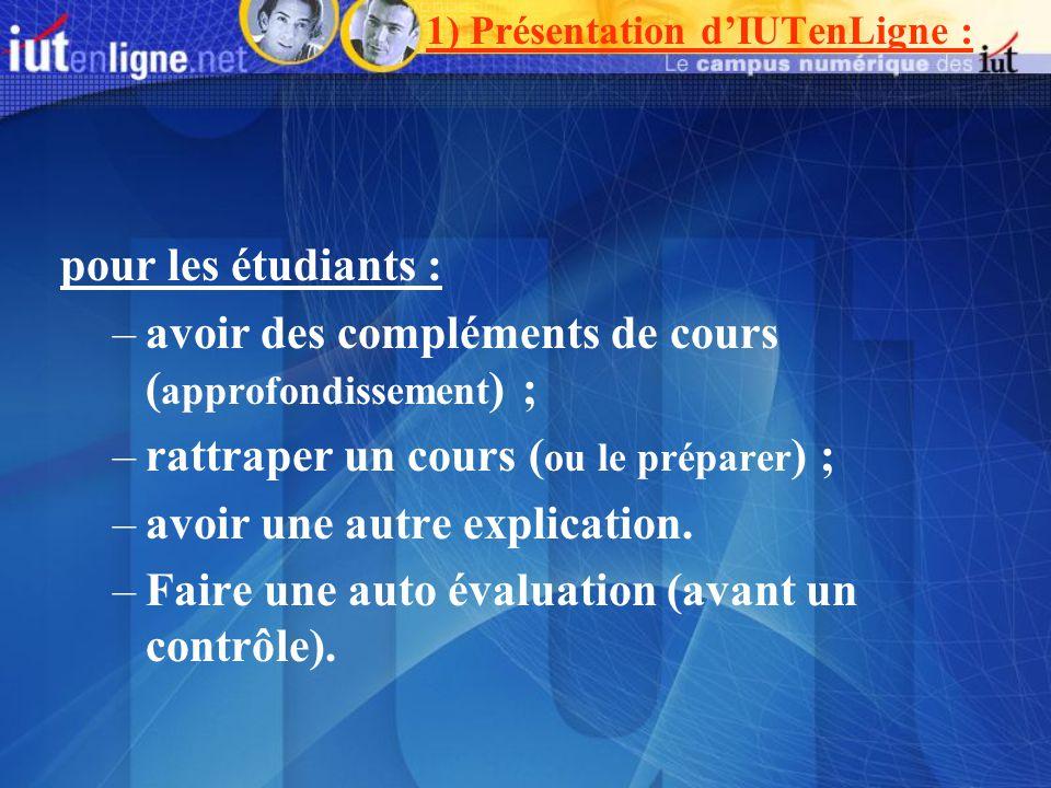 pour les étudiants : –avoir des compléments de cours ( approfondissement ) ; –rattraper un cours ( ou le préparer ) ; –avoir une autre explication.