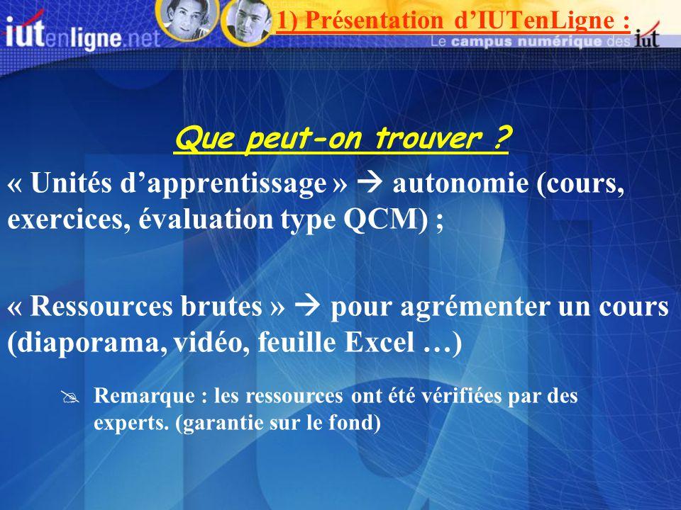 Que peut-on trouver ? « Unités dapprentissage » autonomie (cours, exercices, évaluation type QCM) ; « Ressources brutes » pour agrémenter un cours (di