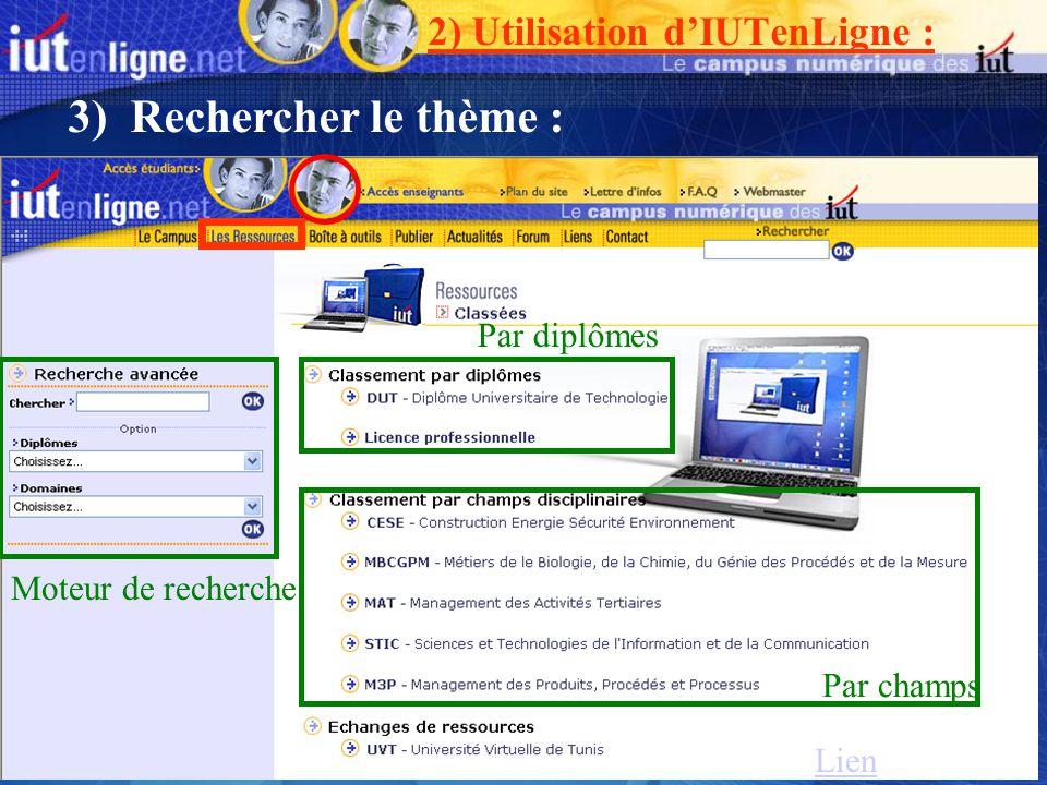 Moteur de recherche Par champs Par diplômes Lien 3) Rechercher le thème : 2) Utilisation dIUTenLigne :