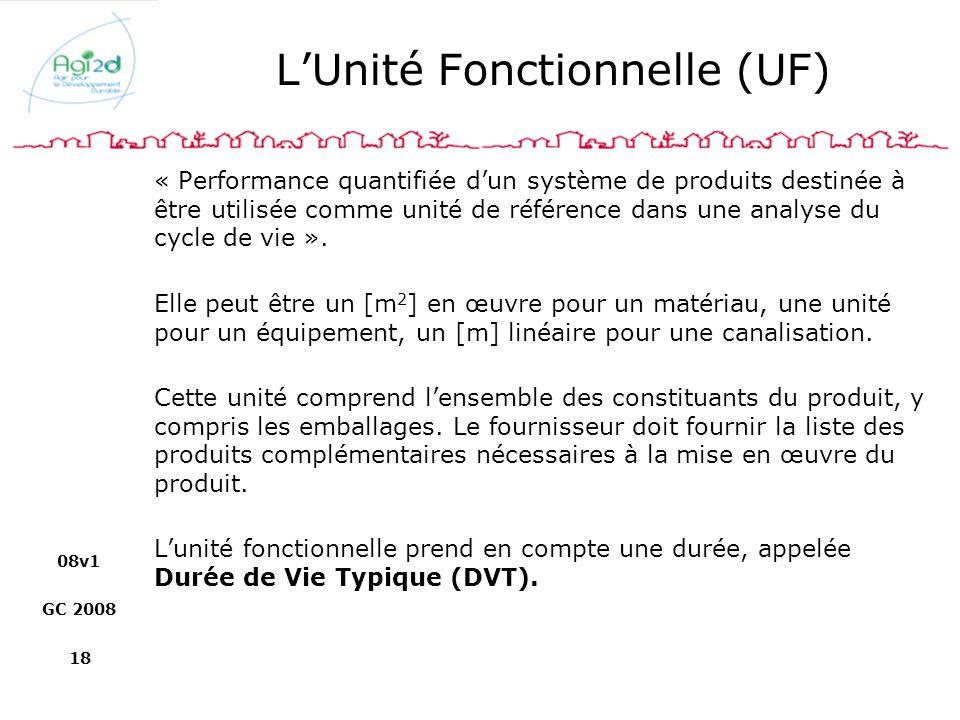 08v1 GC 2008 18 LUnité Fonctionnelle (UF) « Performance quantifiée dun système de produits destinée à être utilisée comme unité de référence dans une