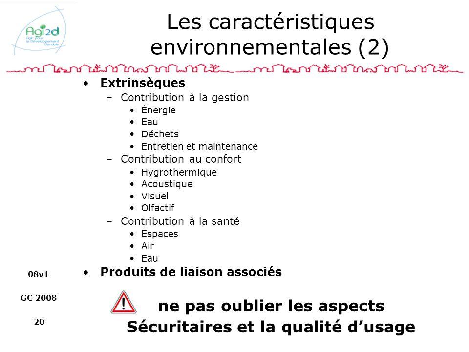 08v1 GC 2008 20 Les caractéristiques environnementales (2) Extrinsèques –Contribution à la gestion Énergie Eau Déchets Entretien et maintenance –Contr
