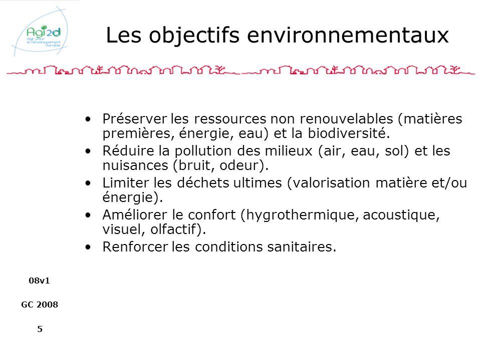 08v1 GC 2008 5 Les objectifs environnementaux Préserver les ressources non renouvelables (matières premières, énergie, eau) et la biodiversité. Réduir