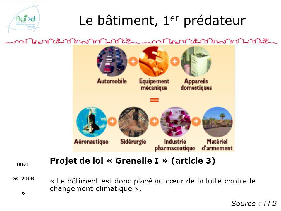08v1 GC 2008 6 Le bâtiment, 1 er prédateur Source : FFB Projet de loi « Grenelle I » (article 3) « Le bâtiment est donc placé au cœur de la lutte cont