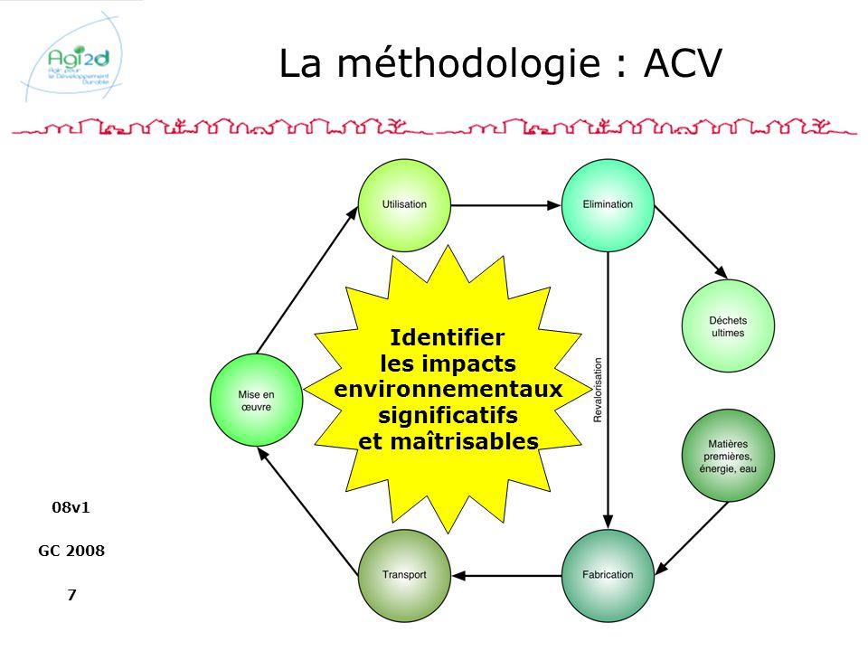 08v1 GC 2008 7 La méthodologie : ACV Identifier les impacts environnementaux significatifs et maîtrisables