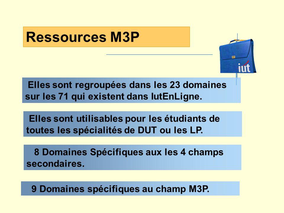 Elles sont regroupées dans les 23 domaines sur les 71 qui existent dans IutEnLigne. Ressources M3P 8 Domaines Spécifiques aux les 4 champs secondaires