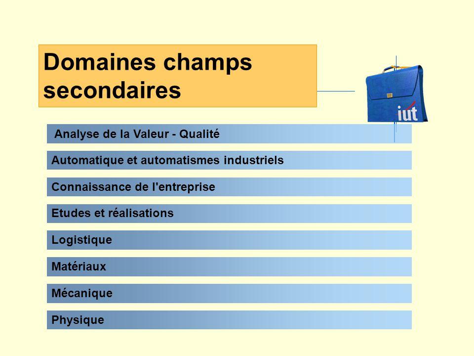 Analyse de la Valeur - Qualité Domaines champs secondaires Automatique et automatismes industriels Connaissance de l entreprise Etudes et réalisations Logistique Matériaux Physique Mécanique