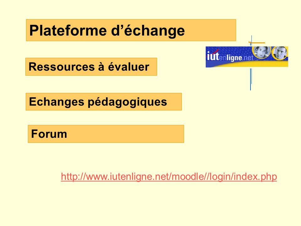 Plateforme déchange Ressources à évaluer Echanges pédagogiques http://www.iutenligne.net/moodle//login/index.php Forum