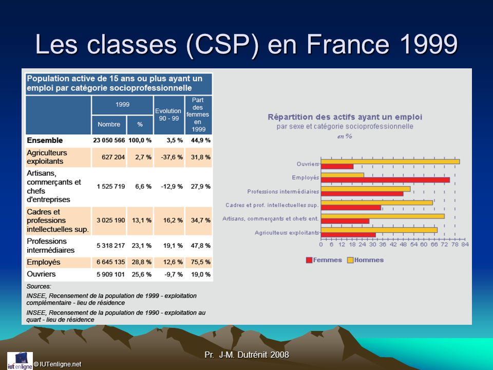 © IUTenligne.net Pr. J-M. Dutrénit 2008 Les classes (CSP) en France 1999