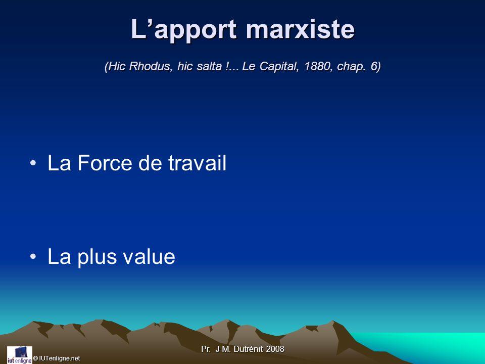© IUTenligne.net Pr.J-M. Dutrénit 2008 Lapport marxiste (Hic Rhodus, hic salta !...