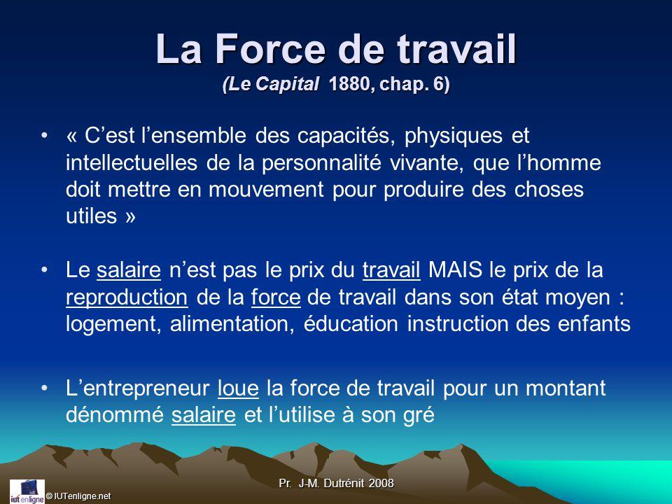 © IUTenligne.net Pr.J-M. Dutrénit 2008 La Force de travail (Le Capital 1880, chap.