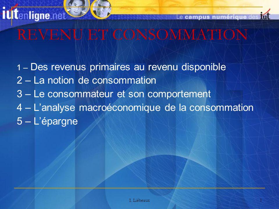 I. Liébeaux 1 REVENU ET CONSOMMATION 1 – Des revenus primaires au revenu disponible 2 – La notion de consommation 3 – Le consommateur et son comportem