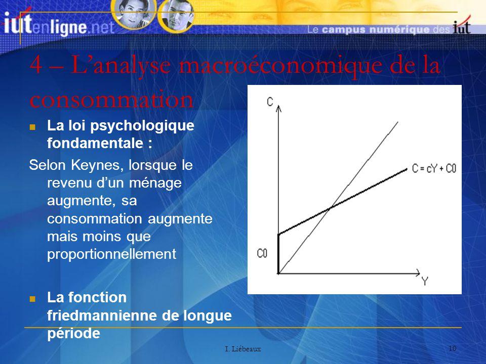 I. Liébeaux 10 4 – Lanalyse macroéconomique de la consommation La loi psychologique fondamentale : Selon Keynes, lorsque le revenu dun ménage augmente