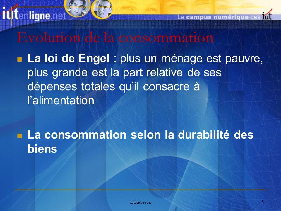 I. Liébeaux 5 Evolution de la consommation La loi de Engel : plus un ménage est pauvre, plus grande est la part relative de ses dépenses totales quil