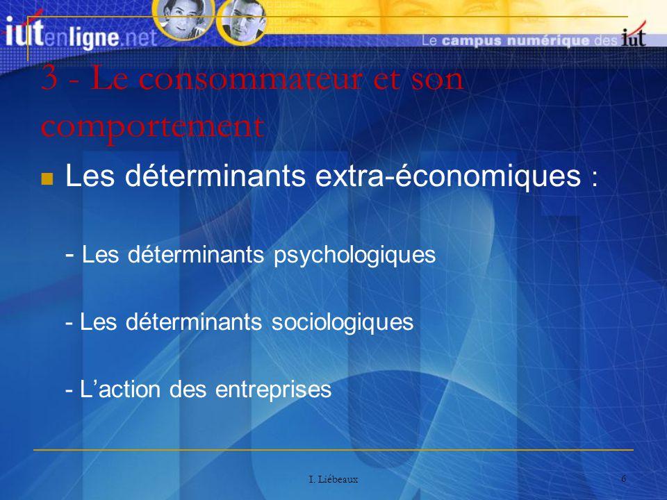 I. Liébeaux 6 3 - Le consommateur et son comportement Les déterminants extra-économiques : - Les déterminants psychologiques - Les déterminants sociol