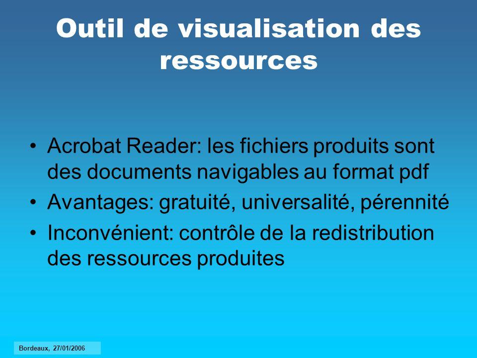 Outil de visualisation des ressources Acrobat Reader: les fichiers produits sont des documents navigables au format pdf Avantages: gratuité, universal
