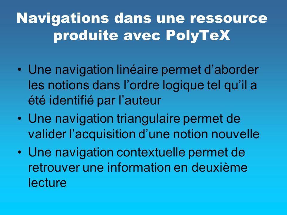 Navigations dans une ressource produite avec PolyTeX Une navigation linéaire permet daborder les notions dans lordre logique tel quil a été identifié
