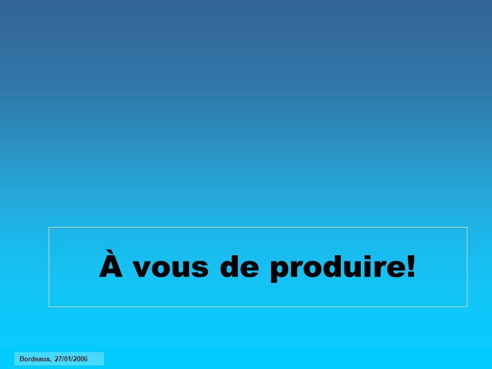 À vous de produire! Bordeaux, 27/01/2006