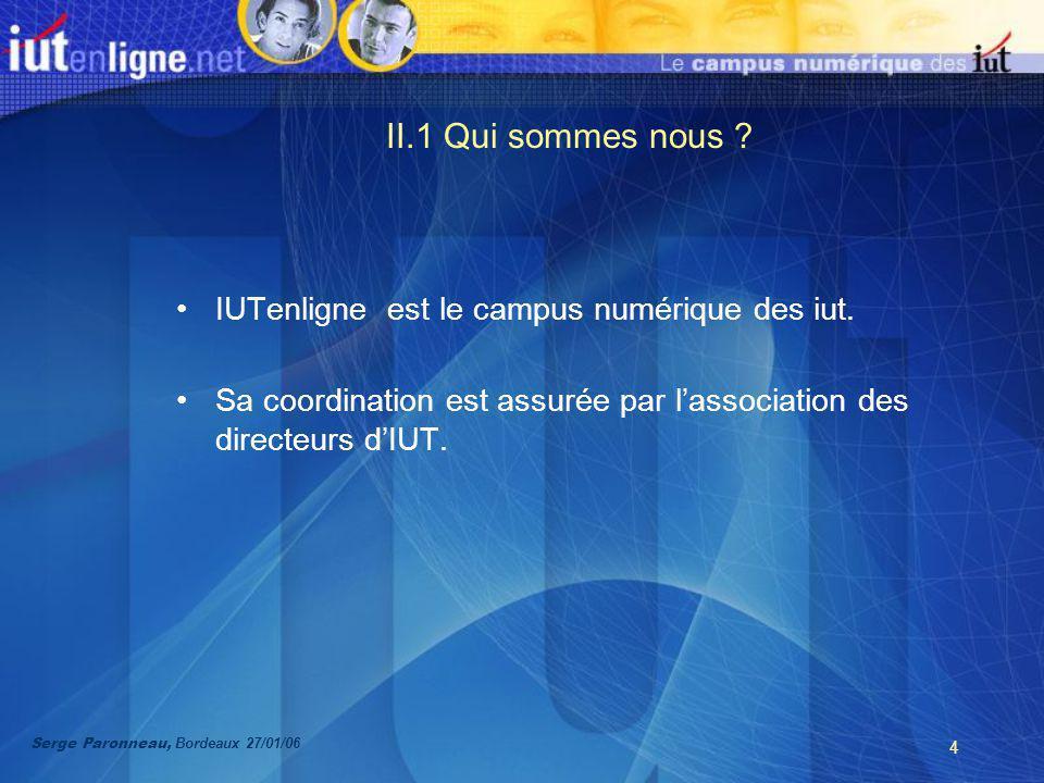 4 II.1 Qui sommes nous . IUTenligne est le campus numérique des iut.