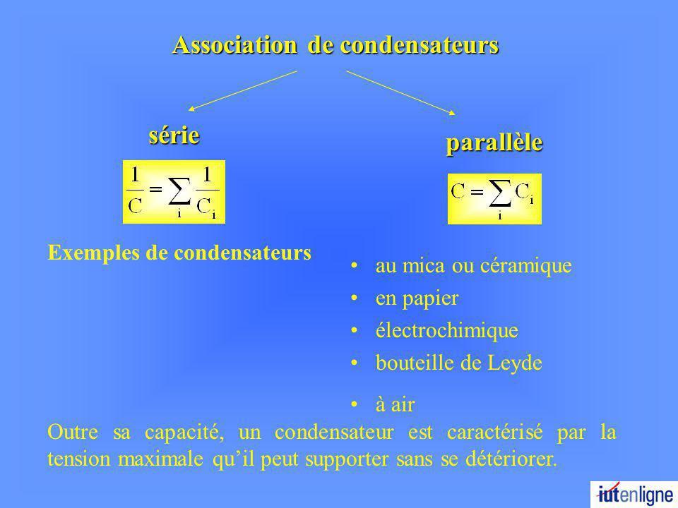 Association de condensateurs série parallèle Exemples de condensateurs au mica ou céramique en papier électrochimique bouteille de Leyde à air Outre sa capacité, un condensateur est caractérisé par la tension maximale quil peut supporter sans se détériorer.