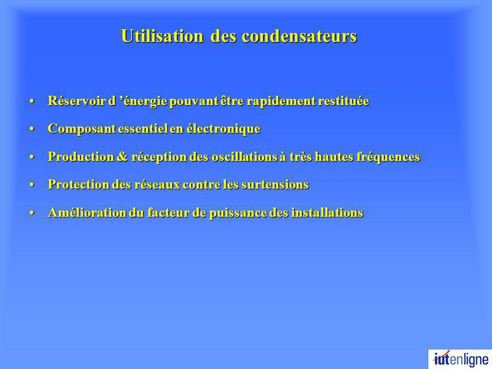 Utilisation des condensateurs Réservoir d énergie pouvant être rapidement restituéeRéservoir d énergie pouvant être rapidement restituée Composant ess
