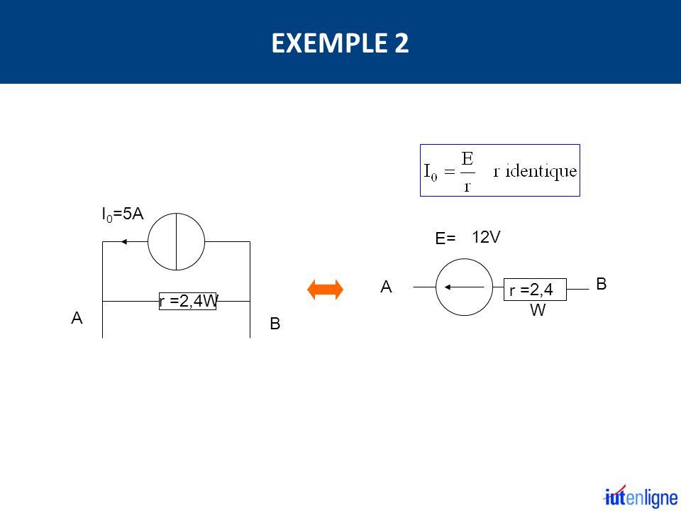 A B r = E= B A r =2,4W I 0 =5A 12V 2,4 W EXEMPLE 2