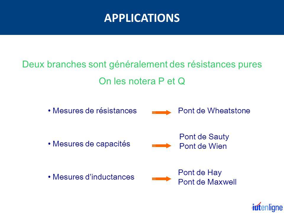 Deux branches sont généralement des résistances pures On les notera P et Q Mesures de résistances Mesures de capacités Mesures dinductances Pont de Wheatstone Pont de Sauty Pont de Wien Pont de Hay Pont de Maxwell APPLICATIONS