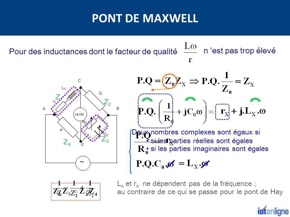 Deux nombres complexes sont égaux si si les parties réelles sont égales si les parties imaginaires sont égales Q rXrX LXLX P A B C D oscillo C0C0 R0R0