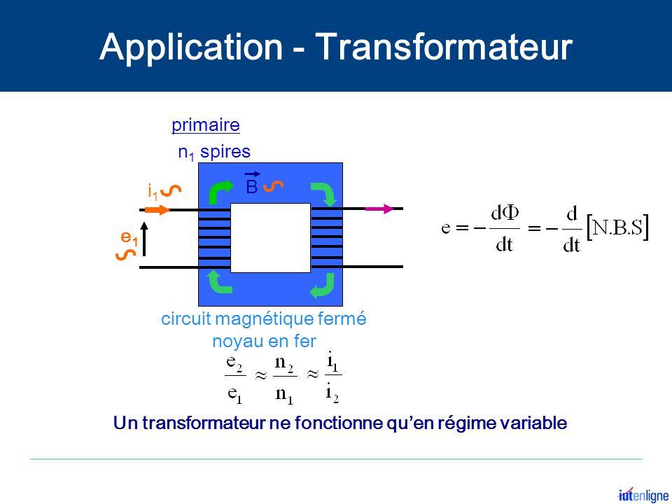 e1e1 i1i1 i2i2 n 1 spires primaire n 2 spires secondaire circuit magnétique fermé noyau en fer e2e2 B Un transformateur ne fonctionne quen régime vari