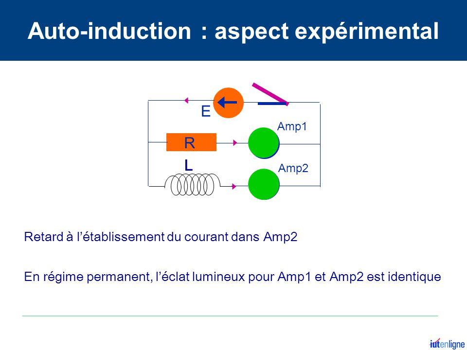 Amp2 Amp1 E L R Retard à létablissement du courant dans Amp2 En régime permanent, léclat lumineux pour Amp1 et Amp2 est identique Auto-induction : asp