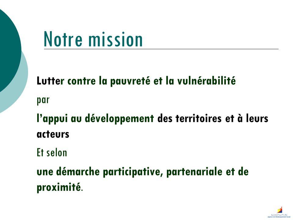 Notre mission Lutter contre la pauvreté et la vulnérabilité par lappui au développement des territoires et à leurs acteurs Et selon une démarche parti