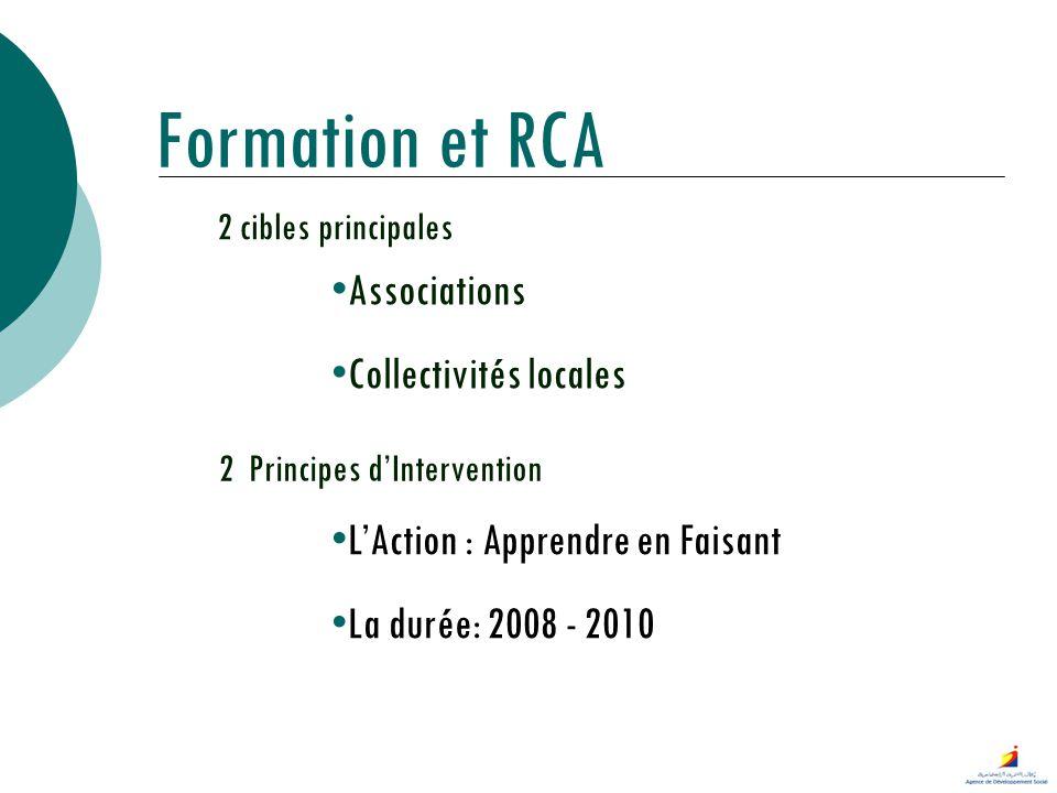 Formation et RCA 2 cibles principales Associations Collectivités locales 2 Principes dIntervention LAction : Apprendre en Faisant La durée: 2008 - 201