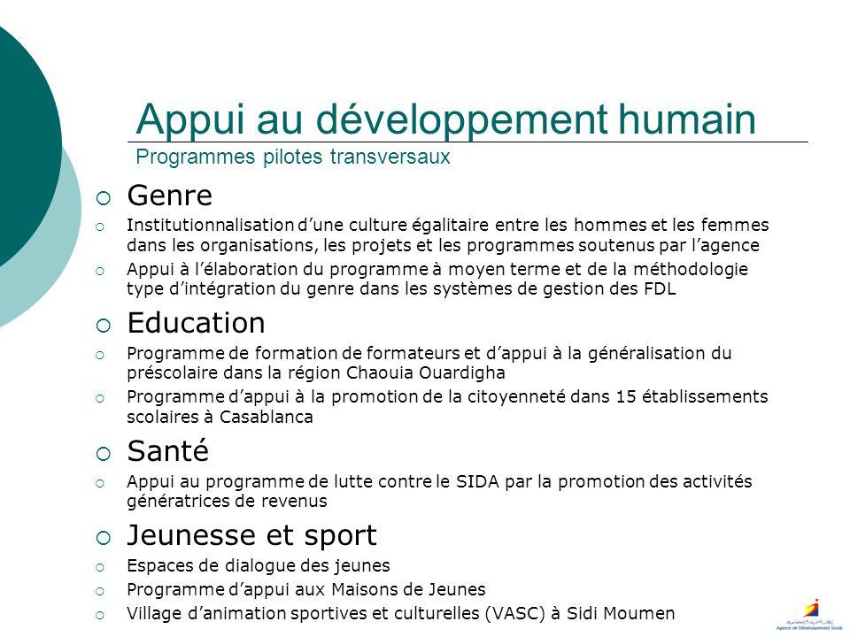 Appui au développement humain Programmes pilotes transversaux Genre Institutionnalisation dune culture égalitaire entre les hommes et les femmes dans