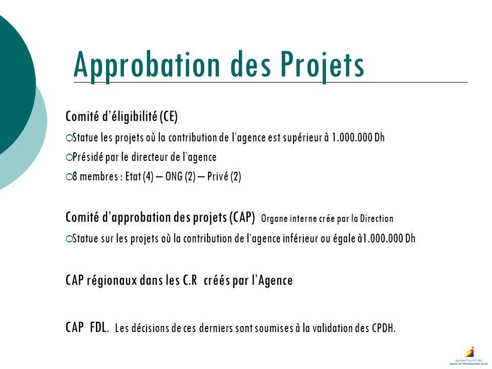 Approbation des Projets Comité déligibilité (CE) Statue les projets où la contribution de lagence est supérieur à 1.000.000 Dh Présidé par le directeu