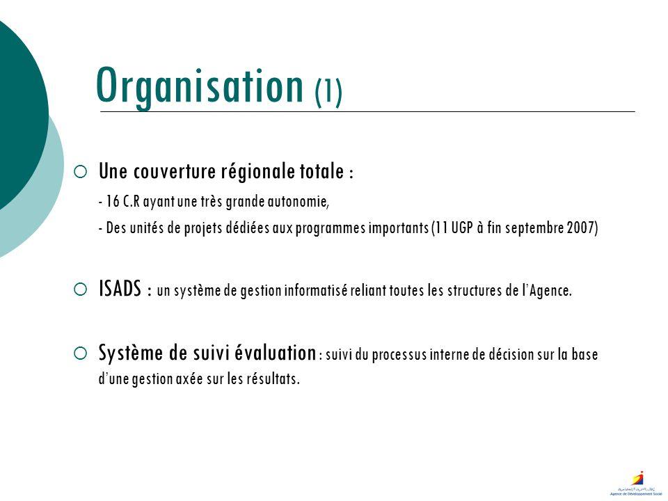 Organisation (1) Une couverture régionale totale : - 16 C.R ayant une très grande autonomie, - Des unités de projets dédiées aux programmes importants