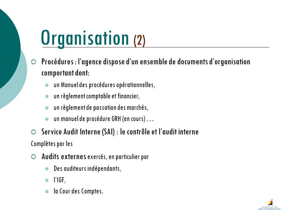 Procédures : lagence dispose dun ensemble de documents dorganisation comportant dont: un Manuel des procédures opérationnelles, un règlement comptable