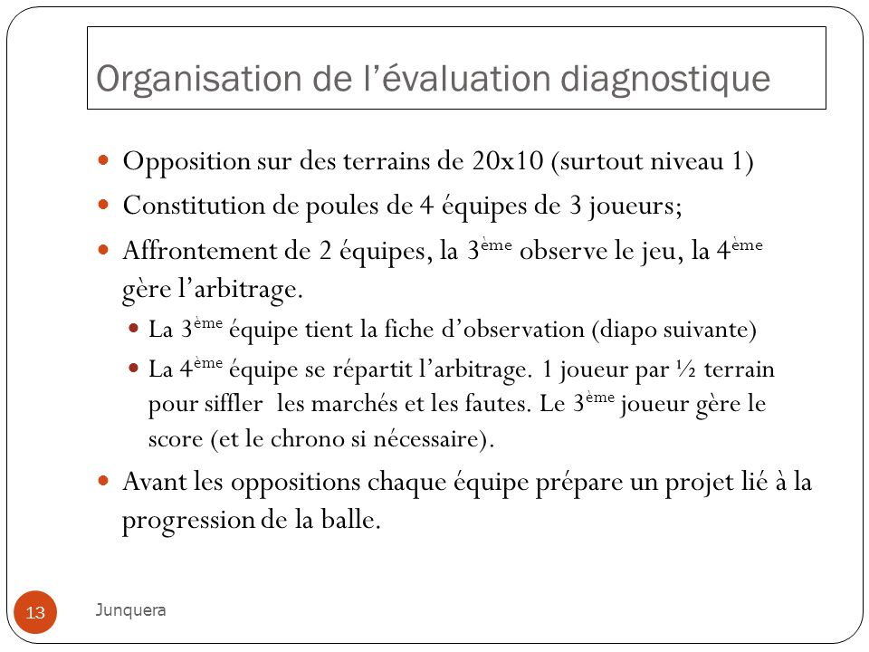 Organisation de lévaluation diagnostique Opposition sur des terrains de 20x10 (surtout niveau 1) Constitution de poules de 4 équipes de 3 joueurs; Aff