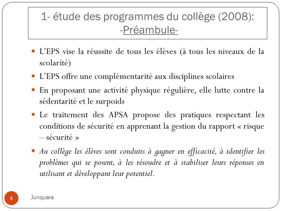 1- étude des programmes du collège (2008): -Préambule- LEPS vise la réussite de tous les élèves (à tous les niveaux de la scolarité) LEPS offre une co