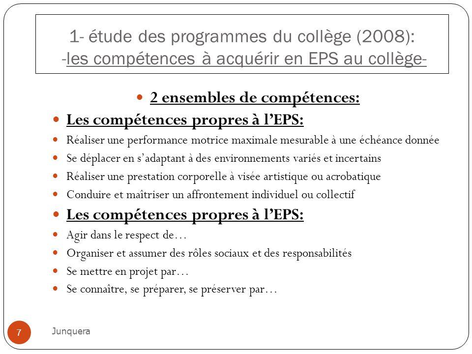2 ensembles de compétences: Les compétences propres à lEPS: Réaliser une performance motrice maximale mesurable à une échéance donnée Se déplacer en s