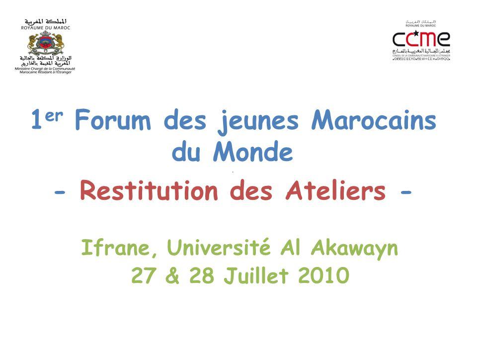 1 er Forum des jeunes Marocains du Monde. - Restitution des Ateliers - Ifrane, Université Al Akawayn 27 & 28 Juillet 2010