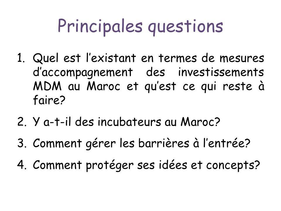 Principales questions 1.Quel est lexistant en termes de mesures daccompagnement des investissements MDM au Maroc et quest ce qui reste à faire? 2.Y a-