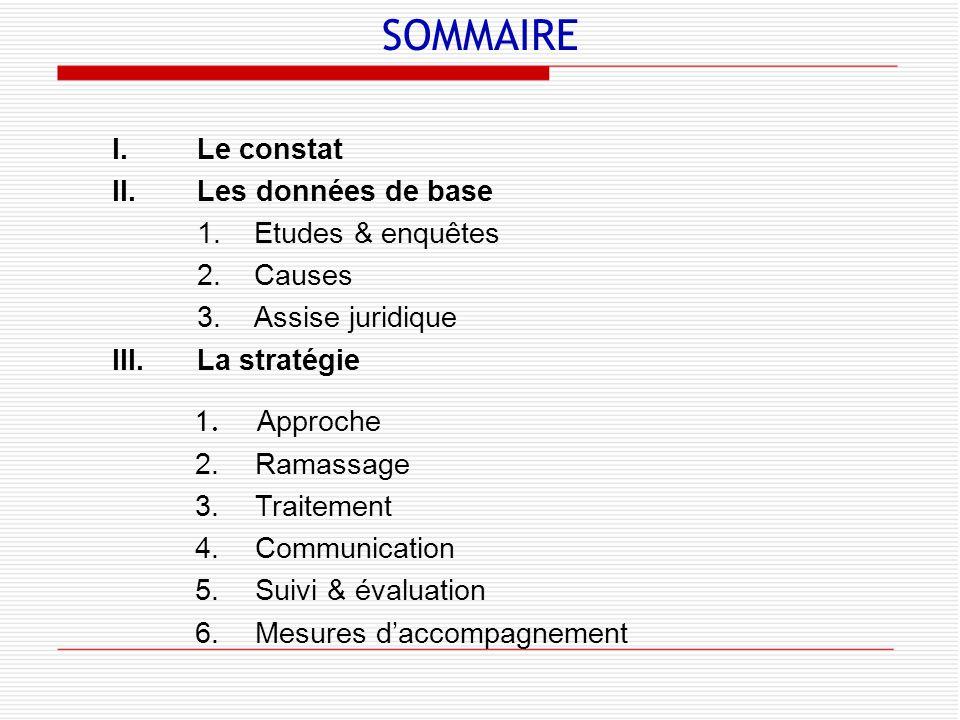 SOMMAIRE I.Le constat II.Les données de base 1.Etudes & enquêtes 2.