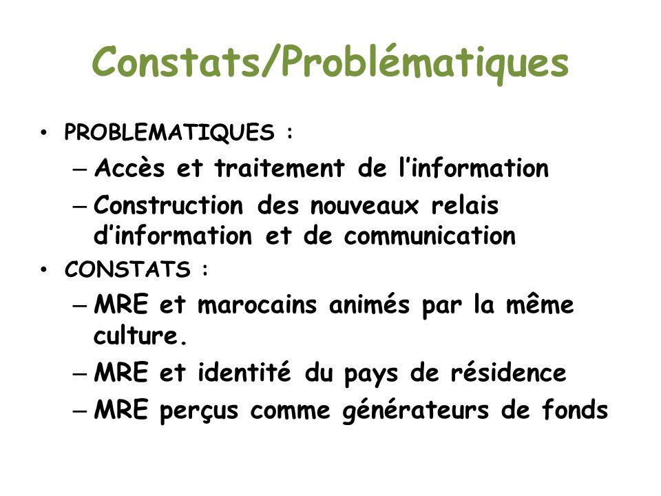 Constats/Problématiques PROBLEMATIQUES : – Accès et traitement de linformation – Construction des nouveaux relais dinformation et de communication CONSTATS : – MRE et marocains animés par la même culture.
