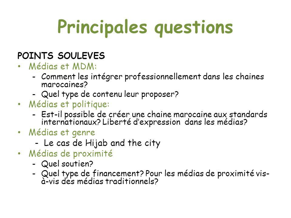 Principales questions POINTS SOULEVES Médias et MDM: - Comment les intégrer professionnellement dans les chaines marocaines.