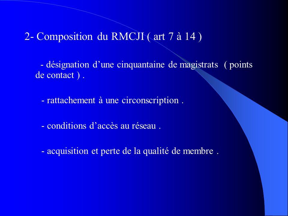 2- Composition du RMCJI ( art 7 à 14 ) - désignation dune cinquantaine de magistrats ( points de contact ). - rattachement à une circonscription. - co