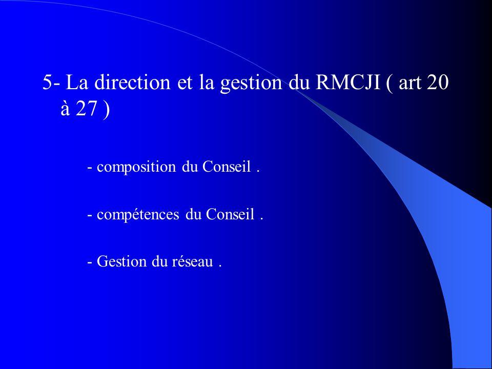 5- La direction et la gestion du RMCJI ( art 20 à 27 ) - composition du Conseil. - compétences du Conseil. - Gestion du réseau.