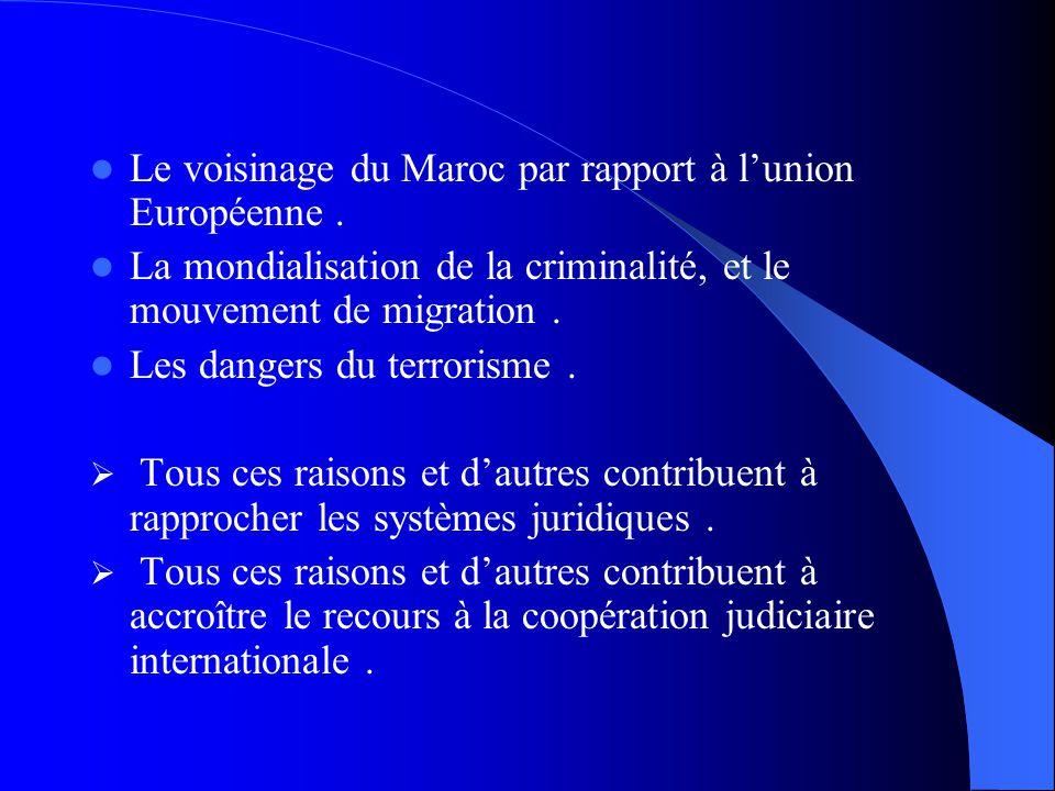 Le voisinage du Maroc par rapport à lunion Européenne. La mondialisation de la criminalité, et le mouvement de migration. Les dangers du terrorisme. T